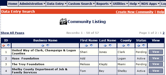 Community Data Entry Search Sort