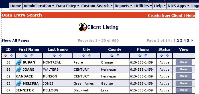Client Data Entry Sort